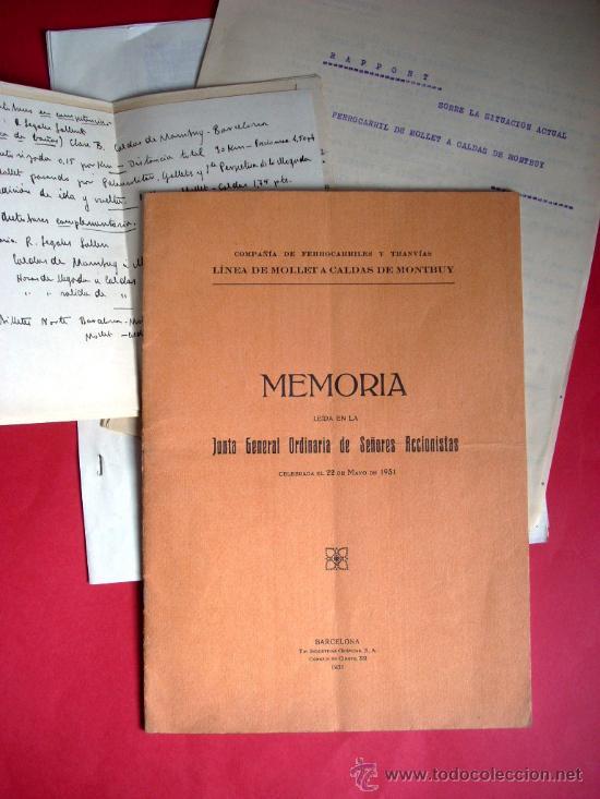 FERROCARRIL - MOLLET - CALDES DE MONTBUI -1931 - MEMORIA Y DOCUMENTOS (Libros Antiguos, Raros y Curiosos - Geografía y Viajes)