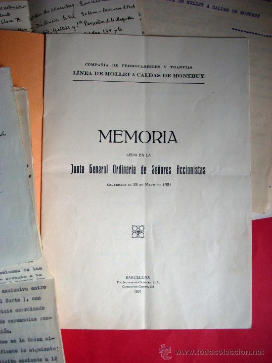 Libros antiguos: FERROCARRIL - MOLLET - CALDES DE MONTBUI -1931 - MEMORIA Y DOCUMENTOS - Foto 2 - 35476207
