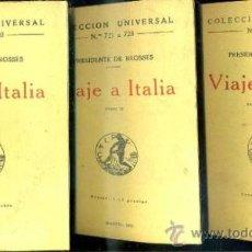 Libros antiguos: P. DE BROSSES : VIAJE A ITALIA - TRES TOMOS (CALPE, 1922). Lote 36923711