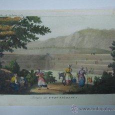 Libros antiguos: EXCELENTE GRAVADO DE VIAJE DE EPOCA ROMANTICA, ILUMINADO A MANO. APROX. 1820.. Lote 37844280