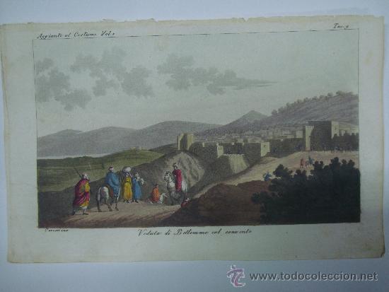 EXCELENTE GRAVADO DE VIAJE DE EPOCA ROMANTICA, ILUMINADO A MANO. APROX. 1820. (Libros Antiguos, Raros y Curiosos - Geografía y Viajes)