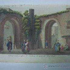 Libros antiguos: EXCELENTE GRAVADO DE VIAJE DE EPOCA ROMANTICA, ILUMINADO A MANO. APROX. 1820.. Lote 37844541