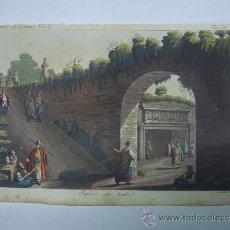Libros antiguos: EXCELENTE GRAVADO DE VIAJE DE EPOCA ROMANTICA, ILUMINADO A MANO. APROX. 1820.. Lote 37844626