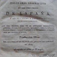 Libros antiguos: ITINERARIO DESCRIPTIVO DE LAS PROVINCIAS DE ESPAÑA IMP. ILDEFONSO MOMPIÉ 1816. Lote 39491425