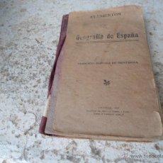 Libros antiguos: LIBRO ELEMENTOS DE GEOGRAFÍA DE ESPAÑA MODESTO JIMENEZ DE BENTROSA 1923 L-6812. Lote 43395105
