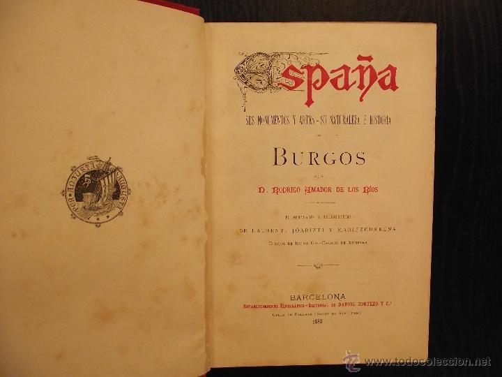 Libros antiguos: BURGOS, RODRIGO AMADOR DE LOS RIOS, 1888 - Foto 2 - 48202888