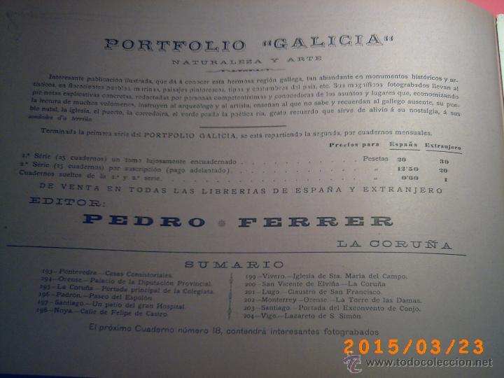 Libros antiguos: PORTFOLIO GALICIA-PEDRO FERRER 1904-FASCICULO SERIE 2ª-CUADERNO Nº 17-20/03/1913- FOTOGRABADADOS - Foto 2 - 48604041