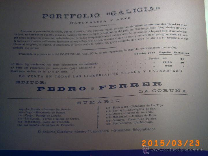 Libros antiguos: PORTFOLIO GALICIA-PEDRO FERRER 1904-FASCICULO SERIE 2ª-CUADERNO Nº 10-20/01/2011 FOTOGRABADADOS - Foto 2 - 48604208