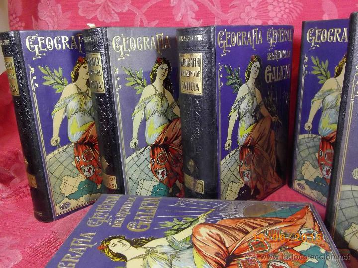 Libros antiguos: Geografía General del Reino de Galícia. completa 6 tomos. Carreras y Candi. Excelente estado. - Foto 3 - 50738883
