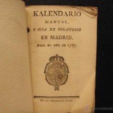 Libros antiguos: KALENDARIO MANUAL Y GUÍA DE FORASTEROS EN MADRID, PARA EL AÑO DE 1787. Lote 51486981