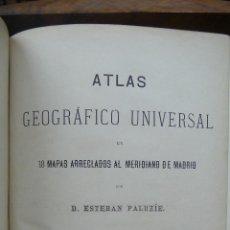 Libros antiguos: ATLAS GEOGRÁFICO UNIVERSAL EN 18 MAPAS ARREGLADOS AL MERIDIANO DE MADRID. ESTEBAN PALUZÍE. 1883.. Lote 52841995