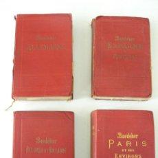 Libros antiguos: LOTE CUATRO GUIAS BAEDEKER ALLEMAGNE BELGIQUE ET HOLLANDE PARIS ESPAGNE ET PORTUGAL 1910. Lote 203899015