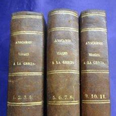 Libros antiguos: VIAJE DE ANACARSIS A LA GRECIA. 11 TOMOS ENCUADERNADOS EN 3.JUAN JACOBO BARTHELEMY.1847. COMPLETA. Lote 64964311