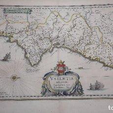 Libros antiguos: MAPA, VALENTIA REGNUM; CONTESTANI, PTOL. / EDENTANI, PLIN.BLAEU.SIGLO XVII, (ORIGINAL).. Lote 67180841