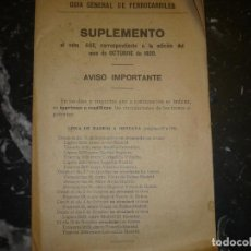 Livros antigos: GUIA GENERAL DE FERROCARRILES SUPLEMENTO 10-1929 AL Nº 448. Lote 68340389