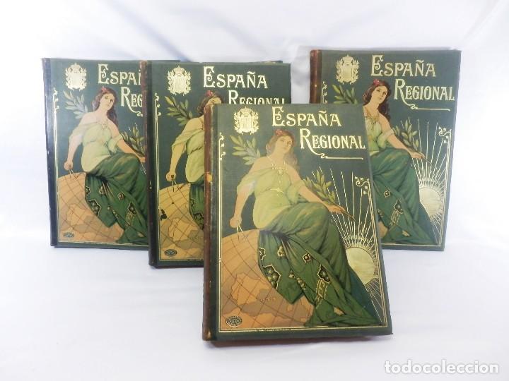 ESPAÑA REGIONAL. OBRA COMPLETA EN 4 VOLUMENES EN GRAN FOLIO.1900. PLANOS Y MAPAS (Libros Antiguos, Raros y Curiosos - Geografía y Viajes)