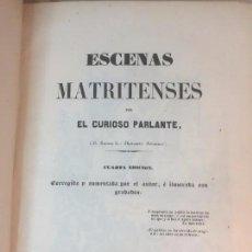 Libros antiguos: ESCENAS MATRITENSES 1845 GRABADOS CURIOSO PARLANTE MESONERO ROMANOS IGNACIO BOIX MADRID. Lote 90383152