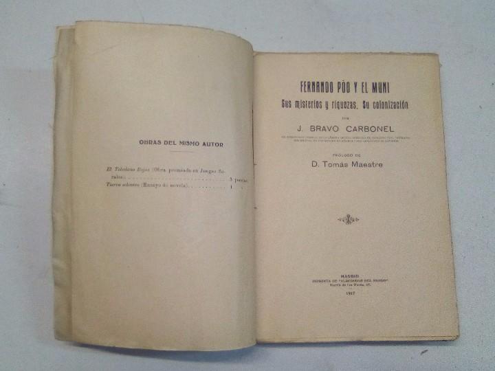 Libros antiguos: J. Bravo Carbonel: Fernando Póo y el Muni (1917) - Foto 4 - 102401407