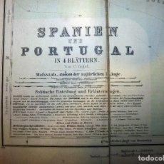 Libros antiguos: MAPA DE ESPAÑA Y PORTUGAL CON INDICE. EXTRACTO DEL ATLAS MANUAL DE STIELER. GOTHA: JUSTUS PERTHES, A. Lote 104424211