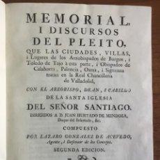 Libros antiguos: MEMORIAL I DISCURSOS DEL PLEITO, QUE LAS CIUDADES, VILLAS I LUGARES DE LOS ARZOBISPADOS DE BURGOS, I. Lote 109021682