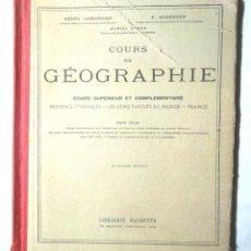 Libros antiguos: COURS DE GÉOGRAPHIE COURS SUPÉRIEUR ET COMPLÉMENTAIRE 1924 ATLAS LES CINQ PARTIES DU MONDE FRANCE. Lote 113651223