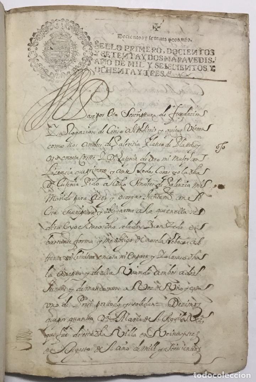 Libros antiguos: DOÑA EUGENIA DE HARO. ESCRITURA DE IMPOSICION DE CENSO DE... - [Manuscrito.] Madrid, 1683. - Foto 2 - 114799478