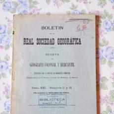 Libros antiguos: 1924 GEOGRAFÍA TOMO XXI - Nº 11 AL 12 BOLETÍN REAL SOCIEDAD GEOGRÁFICA CIENCIAS. Lote 55278479