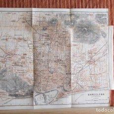 Libros antiguos: 1901- MAPA PLANO BAEDEKER. ORIGINAL. BARCELONA. Lote 125401535