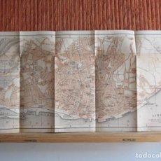 Libros antiguos: 1901- MAPA PLANO BAEDEKER. ORIGINAL. LISBOA. PORTUGAL.GRANDE. Lote 125422511