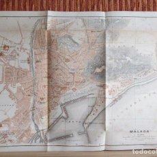 Libros antiguos: 1901- MAPA PLANO BAEDEKER. ORIGINAL. MÁLAGA. MALAGUETA. Lote 125423211