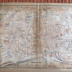 Libros antiguos: 1901- MAPA PLANO BAEDEKER. ORIGINAL. BARCELONA. BARCELONETA. Lote 125423483