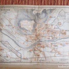 Libros antiguos: 1901- MAPA PLANO BAEDEKER. ORIGINAL. BURGOS. CASTILLO. Lote 125423695