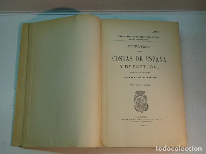 Libros antiguos: Derrotero de las costas de España y Portugal (1915) - Foto 4 - 127264079