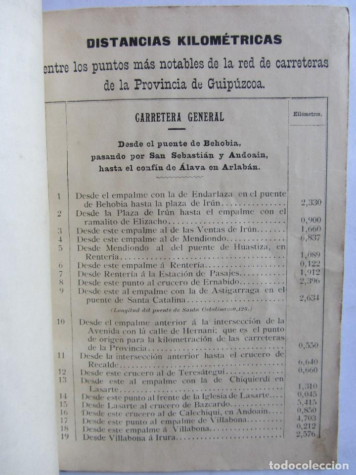 Libros antiguos: Estados indicadores de las distancias kilométricas. Provincia de Guipuzcoa. San Sebastián 1898 - Foto 4 - 129644871