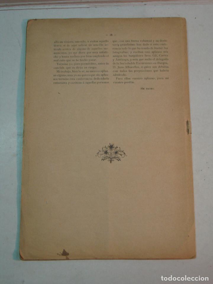 Libros antiguos: Eloy García de Quevedo y Concellón: Excursiones por la Provincia de Burgos (1899) (dedicado) - Foto 2 - 132184986