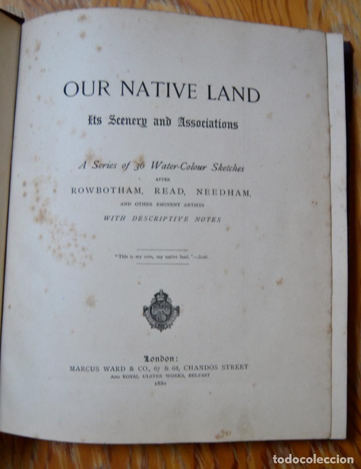 Libros antiguos: OUR NATIVE LAND * Scenery 36 Water-Color Sketches 1880 * ROWBOTHAM READ NEEDHAM * 27CMX23CM - Foto 3 - 135939342