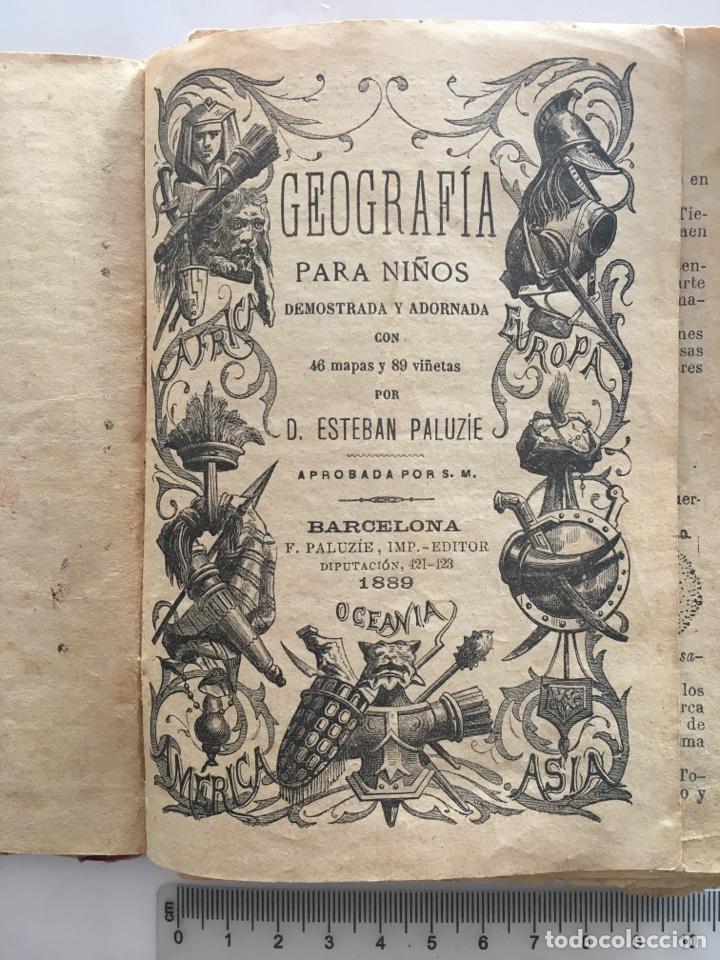 GEOGRAFÍA PARA NIÑOS. POR ESTEBAN PALUZIE. BARCELONA, 1889. (Libros Antiguos, Raros y Curiosos - Geografía y Viajes)