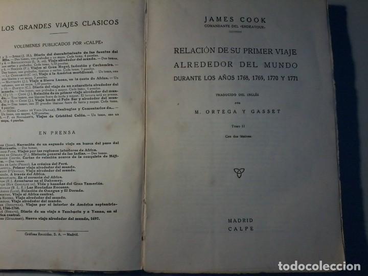 Libros antiguos: RELACION DE SU PRIMER VIAJE ALREDEDOR DEL MUNDO - JAMES COOK - TOMO II -CALPE 1922 - Foto 3 - 147052482