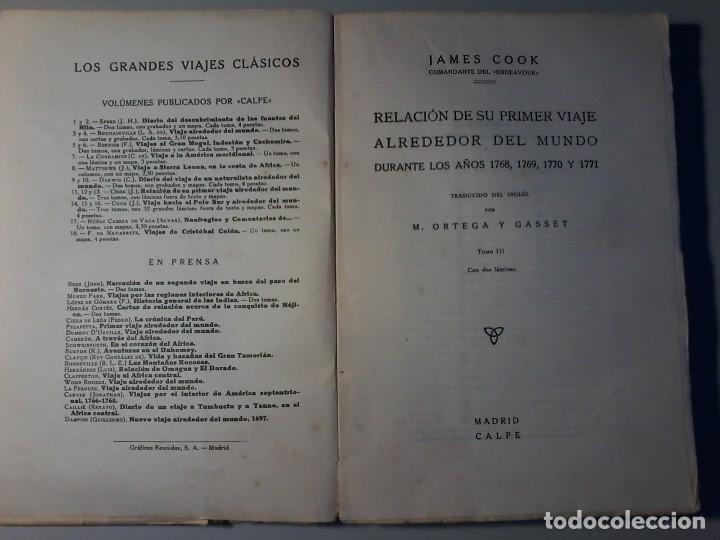 Libros antiguos: RELACION DE SU PRIMER VIAJE ALREDEDOR DEL MUNDO - JAMES COOK - TOMO III -CALPE 1922 - Foto 2 - 147052870