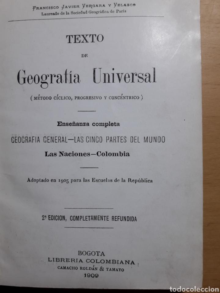 Libros antiguos: Texto de Geografía Universal. 1909 Librería Colombiana - Foto 2 - 155530974