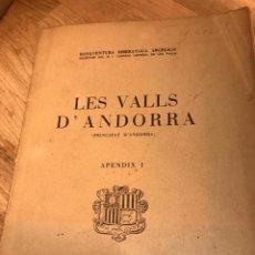 Libros antiguos: ANDORRA , LES VALLS , ANDORRA PRINCIPAT D'ANDORRA . Lote 158926074