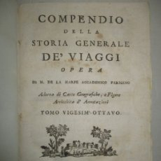 Libros antiguos: COMPENDIO DELLA STORIA GENERALE DE' VIAGGI. 6 TOMOS, DEL 28 AL 33. HARPE, M. DE LA. 1728-1785.. Lote 172632054