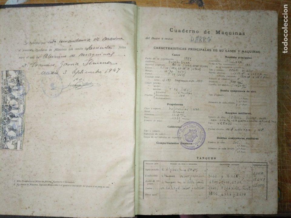 Libros antiguos: cuaderno de maquinas buque a motor darro y turia apuntes anotaciones travesias 1947 1948 - Foto 2 - 171502229