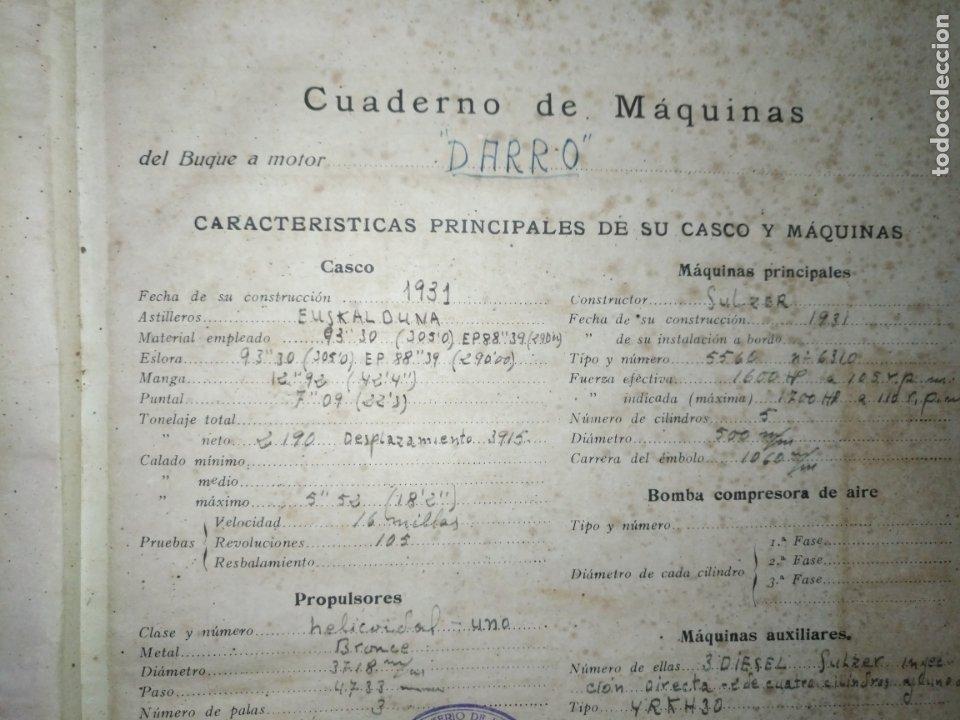 Libros antiguos: cuaderno de maquinas buque a motor darro y turia apuntes anotaciones travesias 1947 1948 - Foto 3 - 171502229