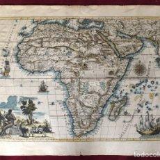 Libros antiguos: MAPA CALCOGRÁFICO ÁFRICA SIGLO XVIII ILUMINADO A MANO. PIERRE VANDER AA. Lote 176013972