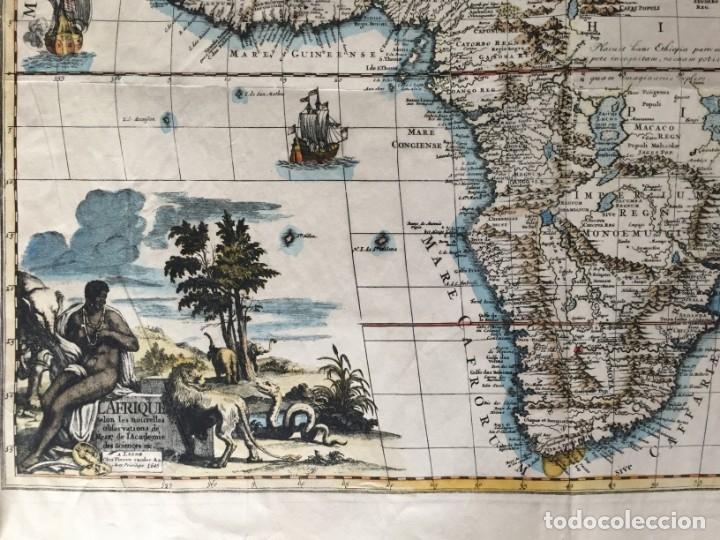 Libros antiguos: MAPA CALCOGRÁFICO ÁFRICA Siglo XVIII Iluminado A Mano. Pierre Vander Aa - Foto 3 - 176013972