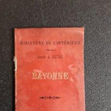 Libros antiguos: BAYONNE. MAPA DE LAPURDI Y PARTE DE LA BAJA NAVARRA EN COLOR. MUCHA INFORMACIÓN.. Lote 178759883