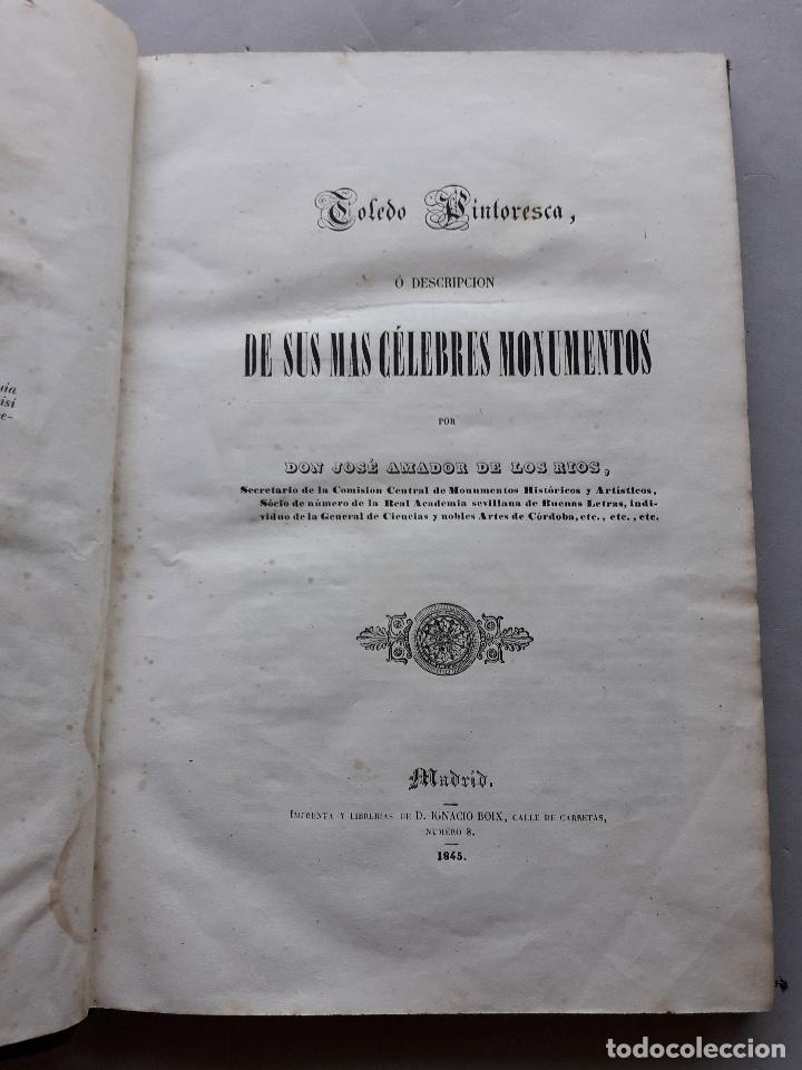 Libros antiguos: Toledo pintoresca. Amador de los Ríos. Madrid, año 1845. - Foto 2 - 181421937
