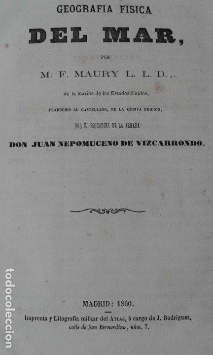 Libros antiguos: GEOGRAFIA DEL MAR MAURY ILUSTRADA CON MAPAS CORRIENTES HURACANES AÑO 1860 - Foto 4 - 181613560