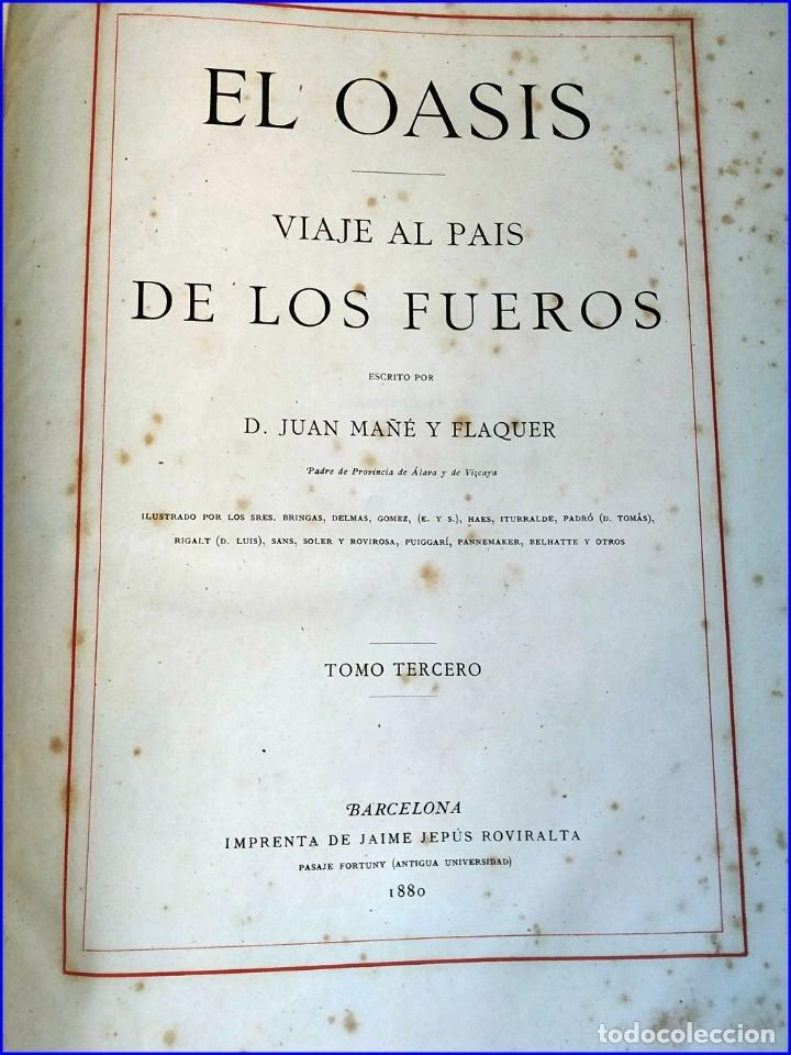 Libros antiguos: AÑO 1878-80: EL OASIS. VIAJE AL PAÍS DE LOS FUEROS. 3 TOMOS ILUSTRADOS DEL SIGLO XIX. MAÑÉ Y FLAQUER - Foto 25 - 182367432
